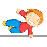 Boy crossing over a high bar Royalty Free Stock Images