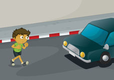 Boy crossing road Royalty Free Stock Photography