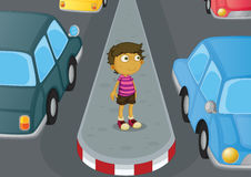 Boy crossing road Royalty Free Stock Photos