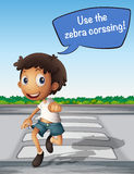 Boy crossing the road using zebra crossing Stock Photo