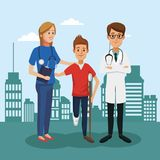 Boy with crutches and doctor. Outside hospital vector illustration graphic design Royalty Free Stock Images
