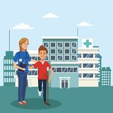 Boy with crutches and doctor. Outside hospital vector illustration graphic design Royalty Free Stock Image