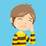 Boy Crying. Lonely and sad little boy crying with stripped polo shirt Royalty Free Stock Images