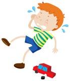 Boy crying because of broken toy. Illustration stock illustration