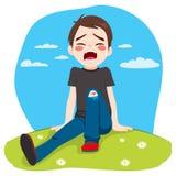 Boy Crying Hurt Stock Photo