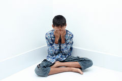 Boy crying. Negative emotion of a boy,teenage problem concept Stock Photos