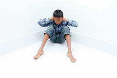 Boy crying. Negative emotion of a boy,teenage problem concept Royalty Free Stock Photo