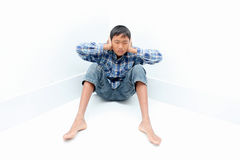 Boy crying. Negative emotion of a boy,teenage problem concept Royalty Free Stock Image