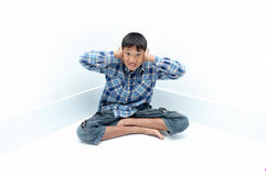 Boy crying. Negative emotion of a boy,teenage problem concept Royalty Free Stock Images