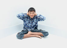 Boy crying. Negative emotion of a boy,teenage problem concept Stock Photo