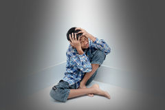 Boy crying. Negative emotion of a boy,teenage problem concept Royalty Free Stock Photography