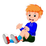 Boy crying with a scratch on his knee. Illustration of boy crying with a scratch on his knee Stock Photos