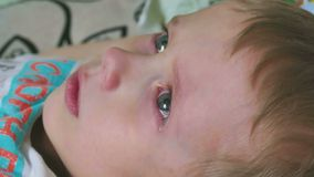 Boy crying tears flow depression. Boy   crying tears flow depression stock footage