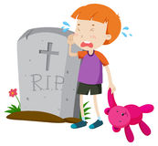 Boy crying in tears at gravestone Stock Photography