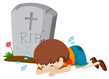 Boy crying at tombstone alone Stock Image