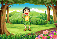 A boy crying at the woods. Illustration of a boy crying at the woods Stock Photo