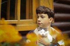 Boy cuddle with cat close up photo on summer cottage house count royalty free stock photos