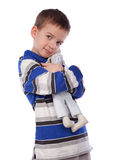 Boy cuddle toy, isolation Royalty Free Stock Image