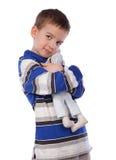 Boy cuddle toy, isolation. Boy cuddle toy, portrait, isolation royalty free stock image