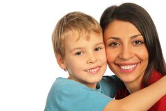Boy cuddle woman. Close-up stock images
