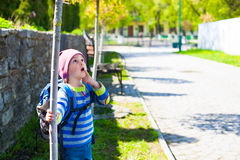 A boy curiously looking at the tree. Stock Photo