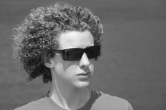 Boy with curly hair royalty free stock photo