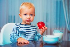 Free Boy Cute Baby Eating Breakfast. Baby Nutrition. Eat Healthy. Toddler Having Snack. Healthy Nutrition. Vitamin Concept Royalty Free Stock Photos - 158141258