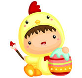 Boy in cute Chicken Easter Costume Stock Photo