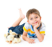Boy with cute chickens Royalty Free Stock Photos
