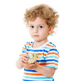 Boy with cute chickens Stock Images