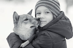 Boy and  cute dog on winter walking Stock Photos