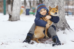 Boy and  cute dog on winter walking Stock Photography