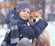 Boy and cute dog on winter walking. Boy and a cute dog on winter walking stock photos
