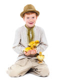 Boy with cute ducklings Stock Photography