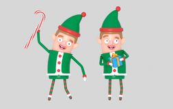 Boy cute elf santa christmas holding gift. 3d illustration. royalty free illustration