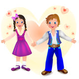 Boy with cute girl Royalty Free Stock Photography