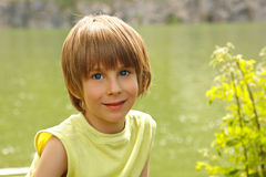 Boy cute happy summer outdoor Stock Photo