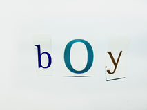 Boy - Cutout Words Collage Of Mixed Magazine Letters with White Background. Caption composed with letters torn from magazines with White Background Royalty Free Stock Photography