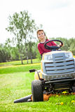 Boy cutting the grass Stock Photography