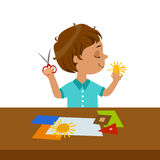Boy Cutting Sun Shape For Paper Applique, Elementary School Art Class Vector Illustration Stock Photography