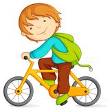 Boy cycling. Editable vector illustration of boy doing cycling stock illustration