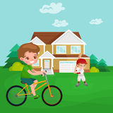 Boy cycling, racing kids sport, physical activity vector illustration Stock Images