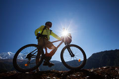 Boy cycling at the road. In Himalaya Royalty Free Stock Photography