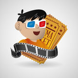 boy with 3d glasses movie cinema with ticket Stock Photo
