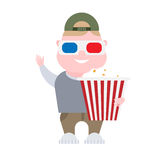 Boy with 3d glasses and popcorn Royalty Free Stock Images