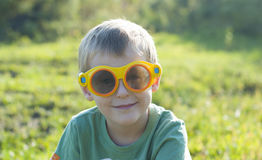 Boy in 3d glasses Royalty Free Stock Photography