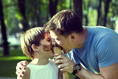 Boy and dad Stock Photos