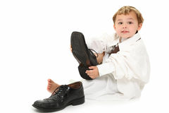 Boy in Daddy's Suit Royalty Free Stock Photography