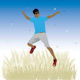 Boy dance on meadow Stock Photos