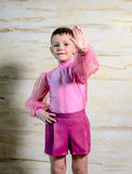 Boy Dancer Posing with Hands Together. Waist Up Portrait of Young Boy Wearing Pink Shorts and Shirt Posing with Together, Traditional European Male Dancer stock image